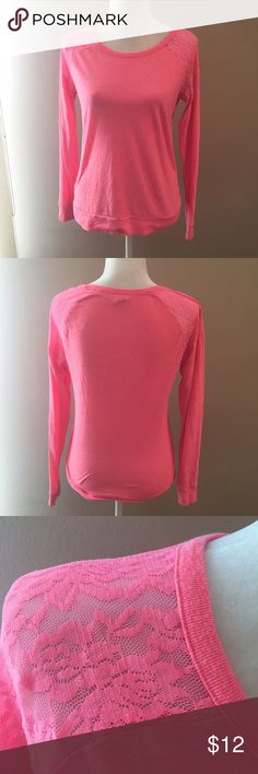 Victoria's Secret Pink Lace Shoulder Shirt Victoria's Secret Pink Lace Shoulder Shirt. Minor pilling. Lace on shoulders. Neon pink. Size medium. PINK Victoria's Secret Tops Tees - Long Sleeve