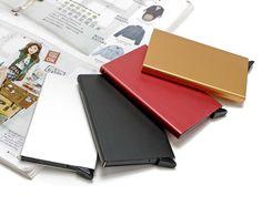 2016 새로운 도착 얇은 금속 Rfid 카드 보호 슬림 알루미늄 신용 카드 홀더 케이스 하나 클릭 모든 6 카드 슬라이드 아웃 보안