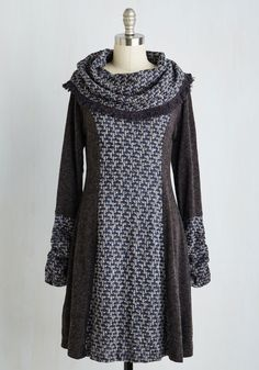 Artistic Liberty Dress. Youve always been a fan of the sweater dress, and what makes this Ryu style so appealing is its expressive details. #grey #modcloth