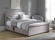 NEW! Wilson Silver Fabric Ottoman Bed Frame