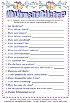 Bridal shower games...could also be a cute couples shower game by having facts listed and people have to guess bride or groom