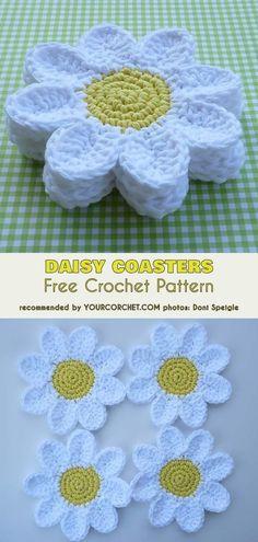 Daisy Coasters Free Crochet Pattern, The Best Flower Coasters Ideas, Handmade Gift Ideas #freecrochetpatterns #crochetcoasters #crochet4home Crochet Daisy, Crochet Home, Crochet Gifts, Crochet Flowers, Crochet Things, Crochet Doilies, Knit Crochet, Knitting Patterns, Crochet Patterns