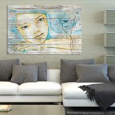 Tableau décoratif effet bois rêve de femme esquisse aquarelle