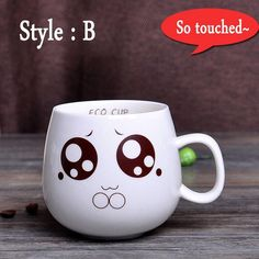 320ml Creative Cute Expression Ceramic Mugs Water Container Cups And Mugs Porcelain Tea Cup Coffee Mug Wholesale