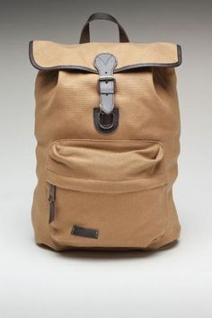 tan backpack with leather trim
