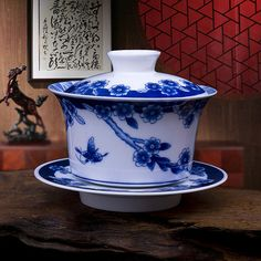 Special Offer! Manually Made Tea Cup Saucer Lid, Ceramic Gaiwan Cup With Hand Painted Chinese Gongbi Butterfy and Plum Blossom