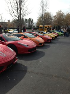 My favorite row of cars at Caffeine Octane - Alpharetta, GA Lamborghini, Ferrari, Taste The Rainbow, Caffeine, The Row, Cars, My Favorite Things, Vehicles, Autos