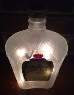 Check out more items at  https://www.etsy.com/listing/234657051/crown-royal-monarch-75th-anniversary #frosted #crownroyal #75th #whisky #lighted #anniversary #bottle #lamp Visit lightitupcreations.com