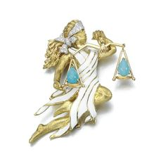 Enamel, turquoise and diamond Libra brooch, David Webb. photo Sotheby's  Designed as the zodiac sign Libra, set with white enamel, brilliant-cut diamonds and pear shaped cabochon turquoise, mounted in yellow gold and platinum, signed Webb