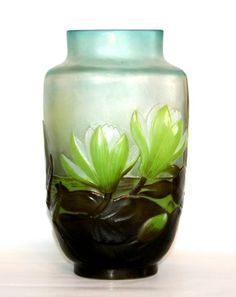 Rare Emile Galle blow-out 'Waterlily' vase