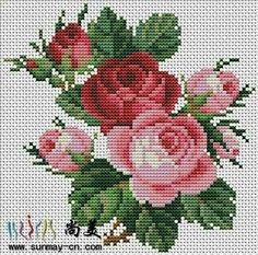 This Pin was discovered by Neş Cross Stitch Rose, Cross Stitch Flowers, Cross Stitch Charts, Cross Stitch Designs, Cross Stitch Patterns, Beaded Embroidery, Cross Stitch Embroidery, Embroidery Patterns, Hand Embroidery