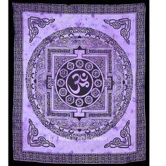 Chakra Purple Om Cotton Mandala Twin Double King by NamaskarIndia