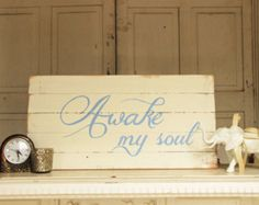CUSTOM Handpainted reclaimed wood sign-Awake My Soul