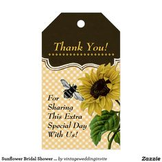 Sunflower Bridal Shower Gift Tags + Twine Pack Of Gift Tags