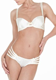 Webbed thong by Bordelle - Cream - babylikestopony