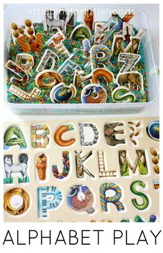 Rainbow Rice Alphabet Puzzle Activity and Sensory Play for Kids. Practice letter recognition and fine motor skills with an alphabet sensory bin and easy colored rice.