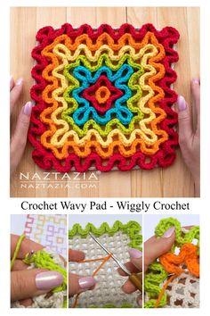 Crochet Wavy Pad using Wiggle Crochet by Naztazia - - The Crochet Wavy Pad is a fun square to make using the wiggle or wiggly crochet technique. The crochet waves form a ruffle effect over a mesh base. Wiggly Crochet Patterns, Crochet Potholder Patterns, Crochet Square Patterns, Crochet Squares Afghan, Crochet Motif, Crochet Crafts, Crochet Yarn, Crochet Projects, Spiral Crochet