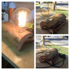 New lamp I made from a branch in the park across from my work.  lamp, edison, woodwork, Perth, Australia