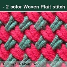 2 color Woven Plait stitch. Free Knitting Pattern includes written instructions and video tutorial.