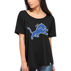 Detroit Lions '47 Brand Women's Boyfriend Oversized Scoop Neck T-Shirt - Black