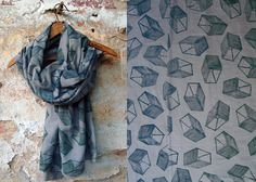 Block printed fabric scarf