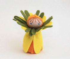 Easter Flower child, Felt Daffodil Child, Miniature Doll or Ornament