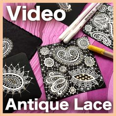 Remember your grandmother's lace? Now you can create lovely drawings that simulate antique lace, using white gel pen over black paper. Lace Drawing, Girl Drawing Easy, Create Drawing, White Gel Pen, Tangle Patterns, Embroidery Patterns, Vintage Crafts, Vintage Books, Jewelry Making Tutorials