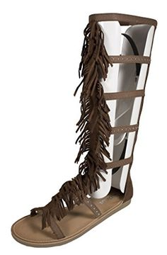 Lustacious Women's Open Toe Studded Strappy Mid Calf Fringe Tribal Flat Sandal with Back Zipper, cognac faux suede,#sANDAL #gladiator M US Soda http://www.amazon.com/dp/B015I2DQLE/ref=cm_sw_r_pi_dp_VWe.vb1R37AXT