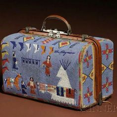Unusual beaded suitcase