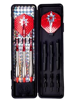 DulyMade 16 Gram Brass Soft Tip Dart, Nickel Plated, 3PCS/SET, Red Anodised Diamond Engraved Aluminium Shafts, Red Color Metal Dart Flights, With Spare Nylon Shafts, Tips and Dart Case