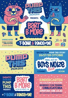 Flyers and artworks for PUMP THIS' season by Johnny Cobalto, via Behance Typography Letters, Typography Logo, Lettering, Affinity Designer, Cat Face, Packaging Design, How To Draw Hands, Flyers, Branding