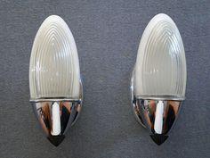 Pair of antique Art Deco Lightolier slip shade sconces