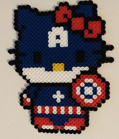 Captain America - Hello Kitty Super Hero Perler Beads by NeonSkiesDesigns
