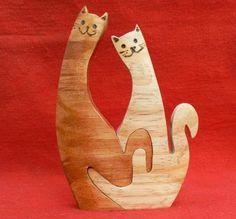 Artesanato Paraty - Artesanato em madeira: Gato 008 P 12x9cm R$ 14,00 G 18x13cm R$ 26,00