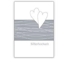 Edle Glückwunschkarte zur Silberhochzeit mit Herzen - http://www.1agrusskarten.de/shop/edle-gluckwunschkarte-zur-silberhochzeit-mit-herzen/    00012_0_2780, Ehe, Grusskarte, Helga Bühler, Hochzeit, Jubiläum, Klappkarte, Silberhochzeit, silbern00012_0_2780, Ehe, Grusskarte, Helga Bühler, Hochzeit, Jubiläum, Klappkarte, Silberhochzeit, silbern