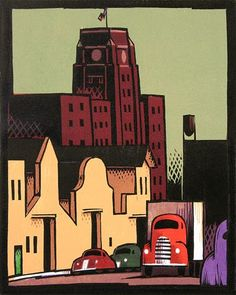 Lockwood Dennis. Sears Tower, 1998. Woodcut. Edition of 55. 15 x 12 inches.