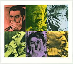 Six Colorful Gags (Male) John Baldessari print 1991 John Baldessari, Just For Gags, Museum Of Contemporary Art, Magazine Art, Rogues, Dc Comics, Batman, Collage, Artwork