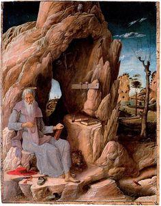 """Andrea Mantegna .""""visión de San Jerónimo"""" A qué religión pertenece? Él le respondió: """"Soy cristiano – católico"""", y Jesús le dijo: """"No es verdad"""". Que borren su nombre de la lista de los cristianos católicos. No es cristiano sino pagano, porque sus lecturas son todas paganas. Tiene tiempo para leer a Virgilio, Cicerón y Homero, pero no encuentra tiempo para leer las Sagradas Escrituras"""""""