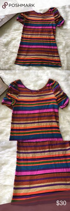 Anthropologie Postmark Colorful Striped Blouse Stunning colorful striped Blouse with a lovely scrunched sleeve size medium. In excellent preowned condition. No flaws. Anthropologie Tops Blouses
