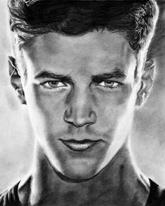 the flash fine art print grant gustin cw superhero wall art black and white drawing gifts  by FloralFantasyDreams