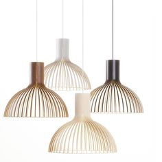 Victo 4250 pendant light is designed by Seppo Koho and made by Secto Design, Finland. The natural birch wood gives the light a warm and reflecting light. The concealed light bulb prevents the light from blinding and casting shadows. H48cm, Dia.56cm. [Ref: Victo4250]