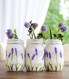 Painted Mason Jars - Lavender Mason Jars by dropclothdesignco on Etsy https://www.etsy.com/listing/464681422/lavender-flower-painted-mason-jars