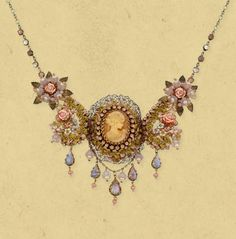Michal Negrin lace necklace with central cameo medallion encrusted with vintage flowers, brass elements, beads and drop shaped Swarovski crystals. $463.