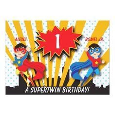 Twins Birthday Party Invitations Twin Boy Girl Superhero Birthday Card