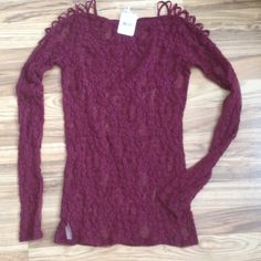 Free people lace longsleeved top Was so excited to get this beautiful burgundy lace free people top and only to find that it's too small for me Free People Tops