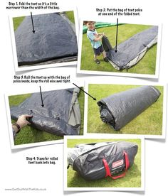 Getting a tent back into its bag, with tent poles, inner tents, etc., can be challenging. Here's a quick tip for rolling up your tent and achieving that almost impossible task.
