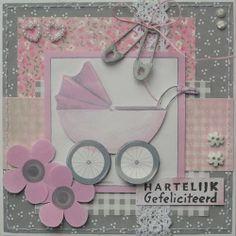 Babykaart met roze kinderwagen. Gemaakt door Trijntje. In het blogbericht staat ook nog een blauwe variant.