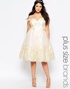 Image 1 ofChi Chi London Plus Lace Bardot Prom Dress