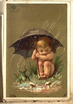 chromo chérubin au parapluie Au bon marché Painting, Art, Art Background, Painting Art, Kunst, Paintings, Performing Arts, Painted Canvas, Drawings