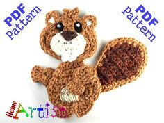 Beaver Crochet Applique Pattern  This is an -INSTANT DOWNLOAD- pattern of a cute…